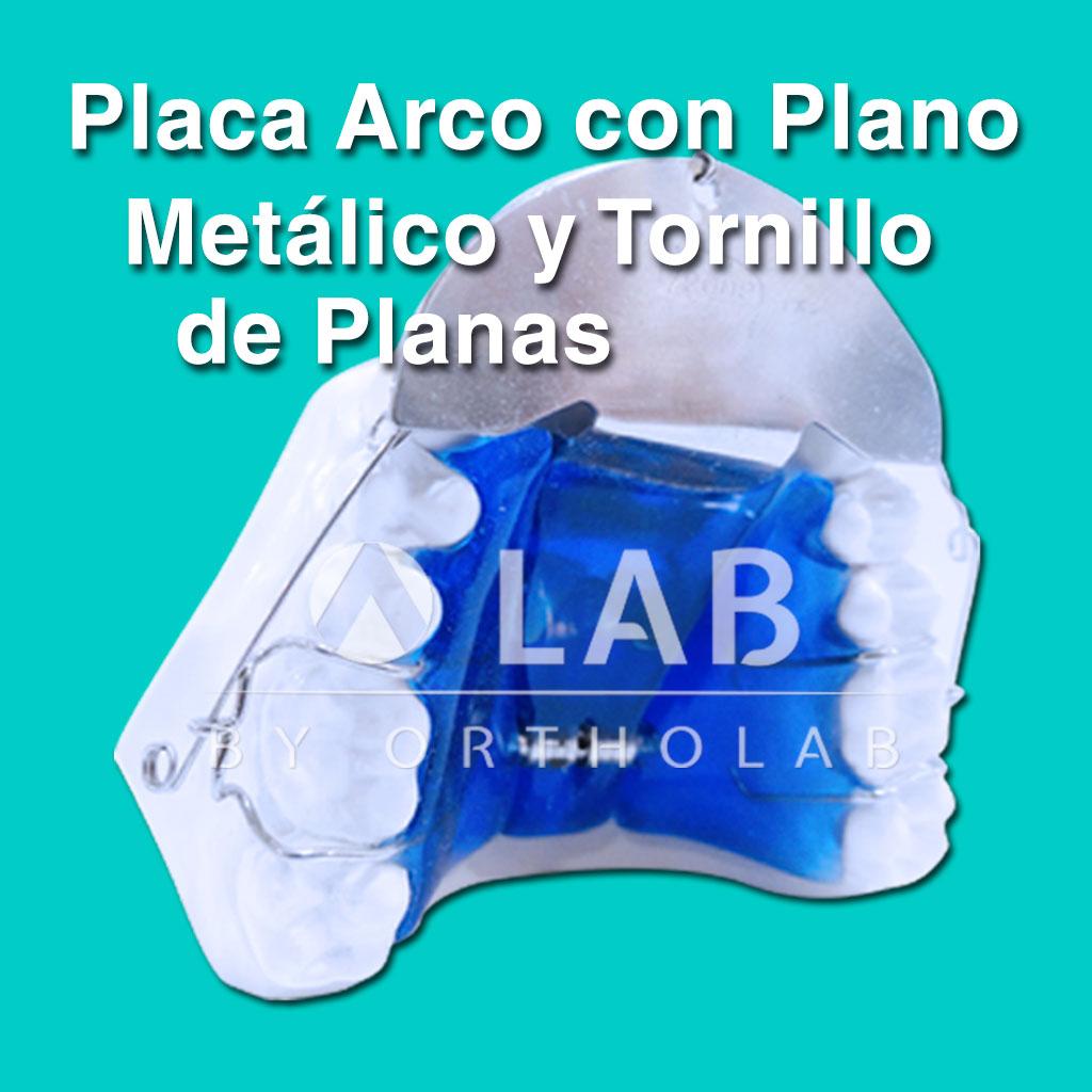 Placa Arco Deslizante con Plano Metálico y Tornillo de Planas Placas Activas Aparatologia Ortodoncia